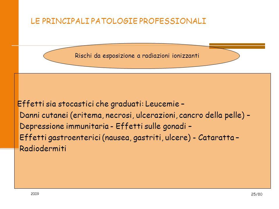 2009 25/80 LE PRINCIPALI PATOLOGIE PROFESSIONALI Rischi da esposizione a radiazioni ionizzanti Effetti sia stocastici che graduati: Leucemie – Danni c