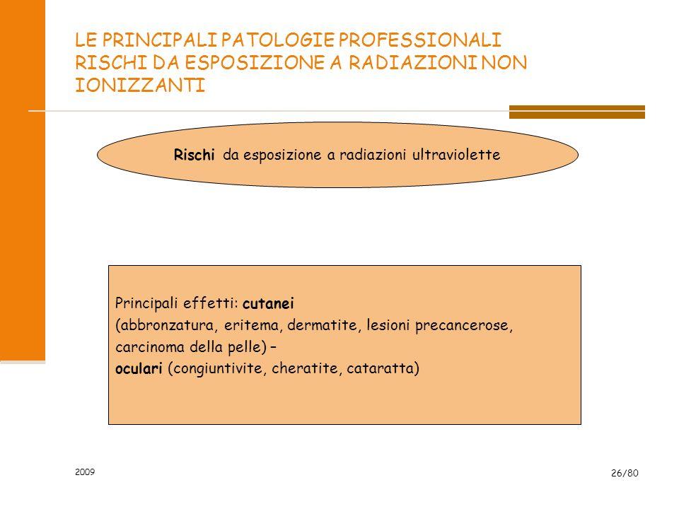 2009 26/80 LE PRINCIPALI PATOLOGIE PROFESSIONALI RISCHI DA ESPOSIZIONE A RADIAZIONI NON IONIZZANTI Rischi da esposizione a radiazioni ultraviolette Pr