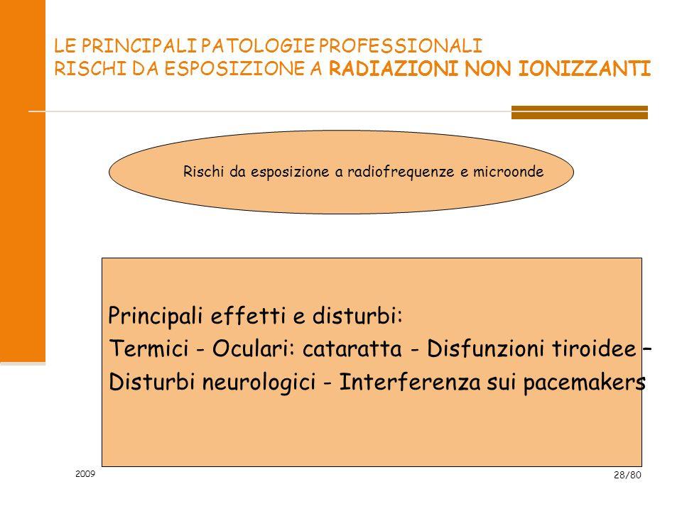 2009 28/80 LE PRINCIPALI PATOLOGIE PROFESSIONALI RISCHI DA ESPOSIZIONE A RADIAZIONI NON IONIZZANTI Rischi da esposizione a radiofrequenze e microonde