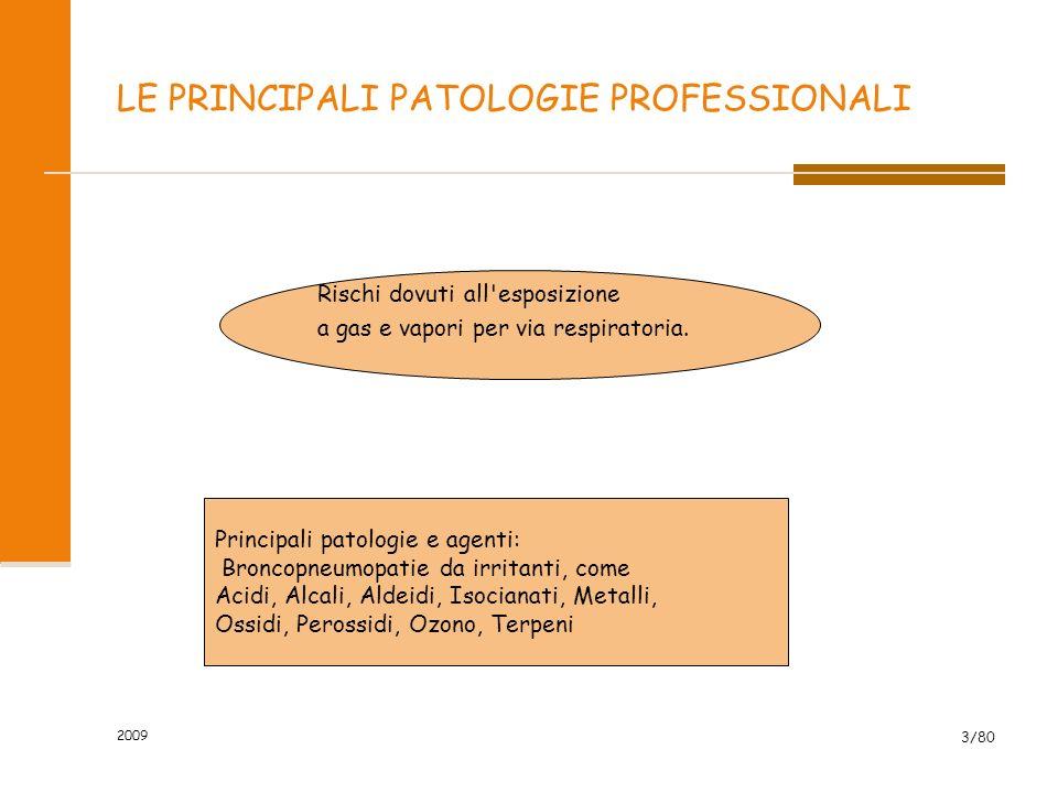 2009 3/80 LE PRINCIPALI PATOLOGIE PROFESSIONALI Rischi dovuti all'esposizione a gas e vapori per via respiratoria. Principali patologie e agenti: Bron