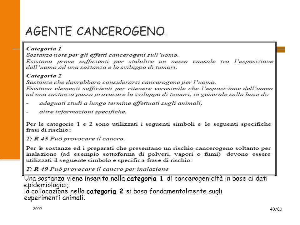 2009 40/80 AGENTE CANCEROGENO. Una sostanza viene inserita nella categoria 1 di cancerogenicità in base ai dati epidemiologici; la collocazione nella