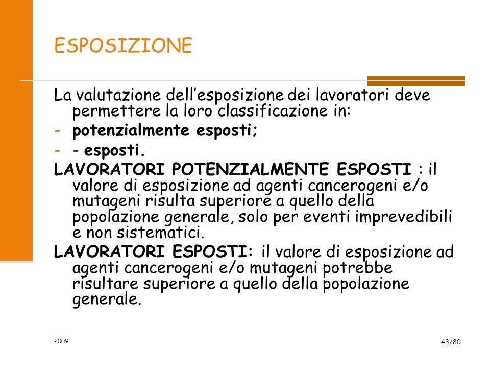 2009 43/80 ESPOSIZIONE La valutazione dellesposizione dei lavoratori deve permettere la loro classificazione in: -potenzialmente esposti; -- esposti.
