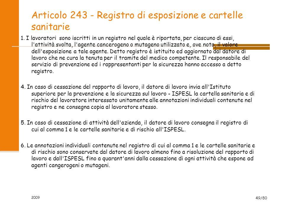Articolo 243 - Registro di esposizione e cartelle sanitarie 1. I lavoratori sono iscritti in un registro nel quale è riportata, per ciascuno di essi,