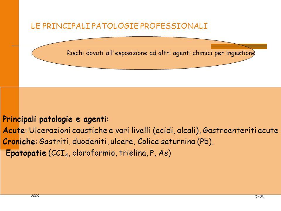 2009 5/80 LE PRINCIPALI PATOLOGIE PROFESSIONALI Rischi dovuti all'esposizione ad altri agenti chimici per ingestione Principali patologie e agenti: Ac