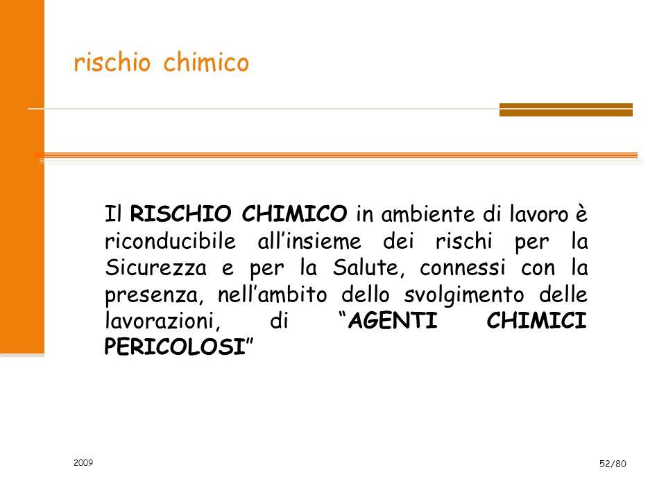 2009 52/80 rischio chimico Il RISCHIO CHIMICO in ambiente di lavoro è riconducibile allinsieme dei rischi per la Sicurezza e per la Salute, connessi c