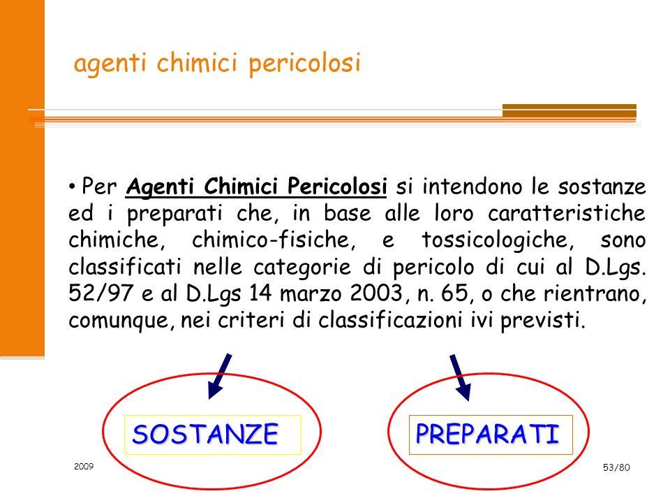 2009 53/80 agenti chimici pericolosi Per Agenti Chimici Pericolosi si intendono le sostanze ed i preparati che, in base alle loro caratteristiche chim