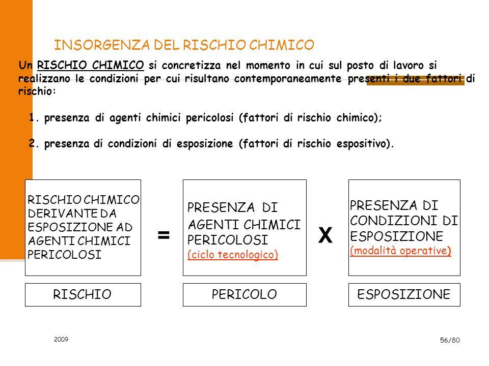 2009 56/80 INSORGENZA DEL RISCHIO CHIMICO Un RISCHIO CHIMICO si concretizza nel momento in cui sul posto di lavoro si realizzano le condizioni per cui