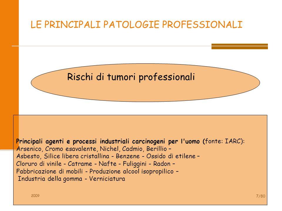 2009 7/80 LE PRINCIPALI PATOLOGIE PROFESSIONALI Rischi di tumori professionali Principali agenti e processi industriali carcinogeni per l'uomo (fonte: