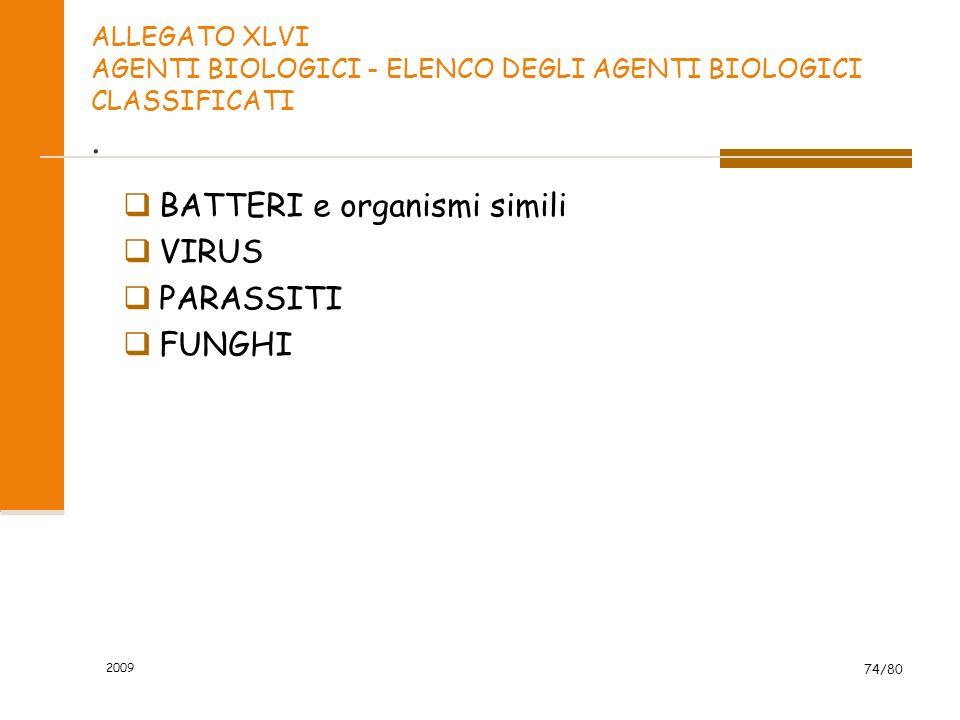 2009 74/80 ALLEGATO XLVI AGENTI BIOLOGICI - ELENCO DEGLI AGENTI BIOLOGICI CLASSIFICATI. BATTERI e organismi simili VIRUS PARASSITI FUNGHI