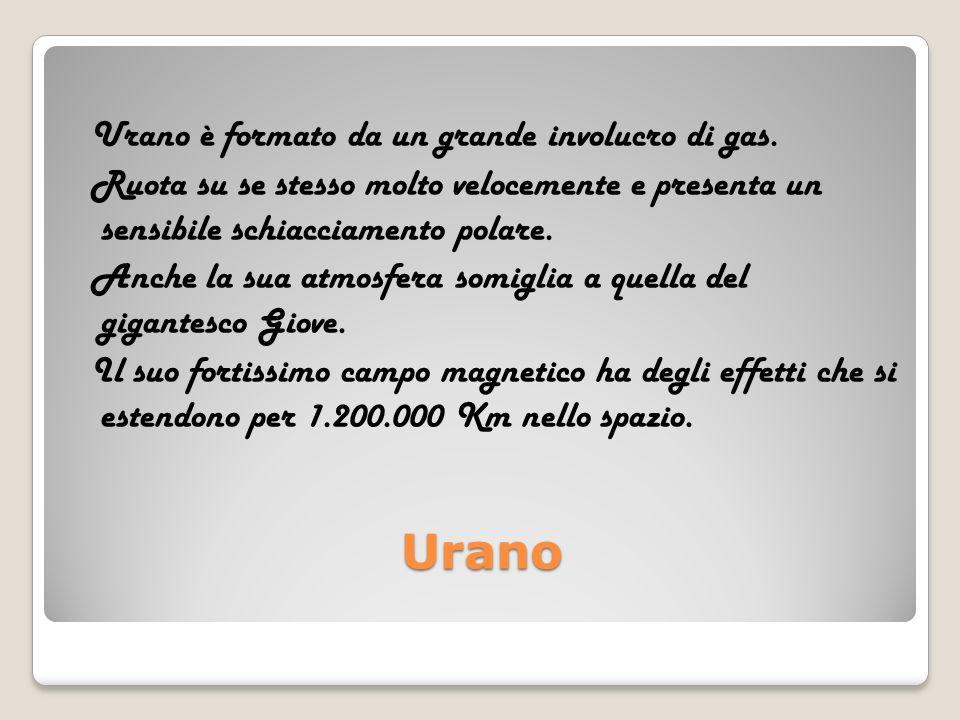 Urano Urano è formato da un grande involucro di gas. Ruota su se stesso molto velocemente e presenta un sensibile schiacciamento polare. Anche la sua