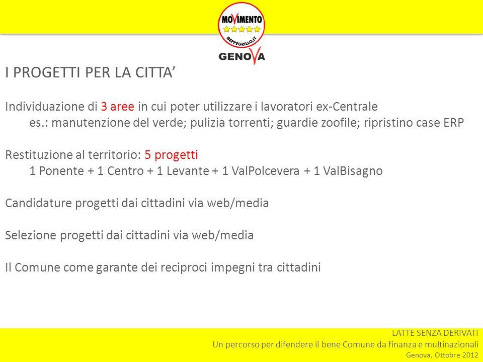 LATTE SENZA DERIVATI Un percorso per difendere il bene Comune da finanza e multinazionali Genova, Ottobre 2012 I PROGETTI PER LA CITTA Individuazione