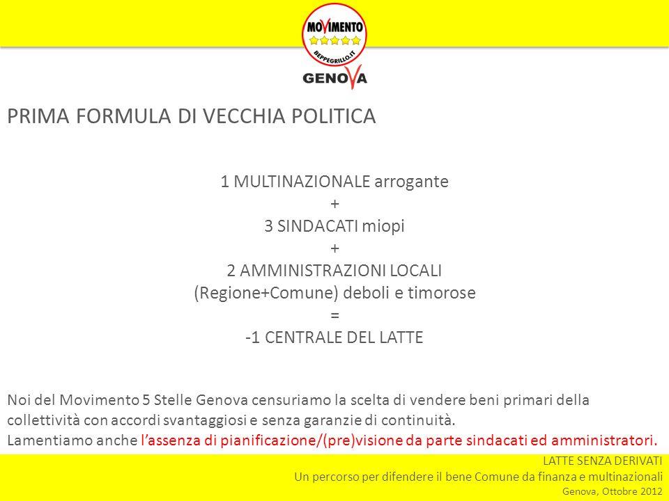 LATTE SENZA DERIVATI Un percorso per difendere il bene Comune da finanza e multinazionali Genova, Ottobre 2012 PRIMA FORMULA DI VECCHIA POLITICA 1 MULTINAZIONALE arrogante + 3 SINDACATI miopi + 2 AMMINISTRAZIONI LOCALI (Regione+Comune) deboli e timorose = -1 CENTRALE DEL LATTE Noi del Movimento 5 Stelle Genova censuriamo la scelta di vendere beni primari della collettività con accordi svantaggiosi e senza garanzie di continuità.