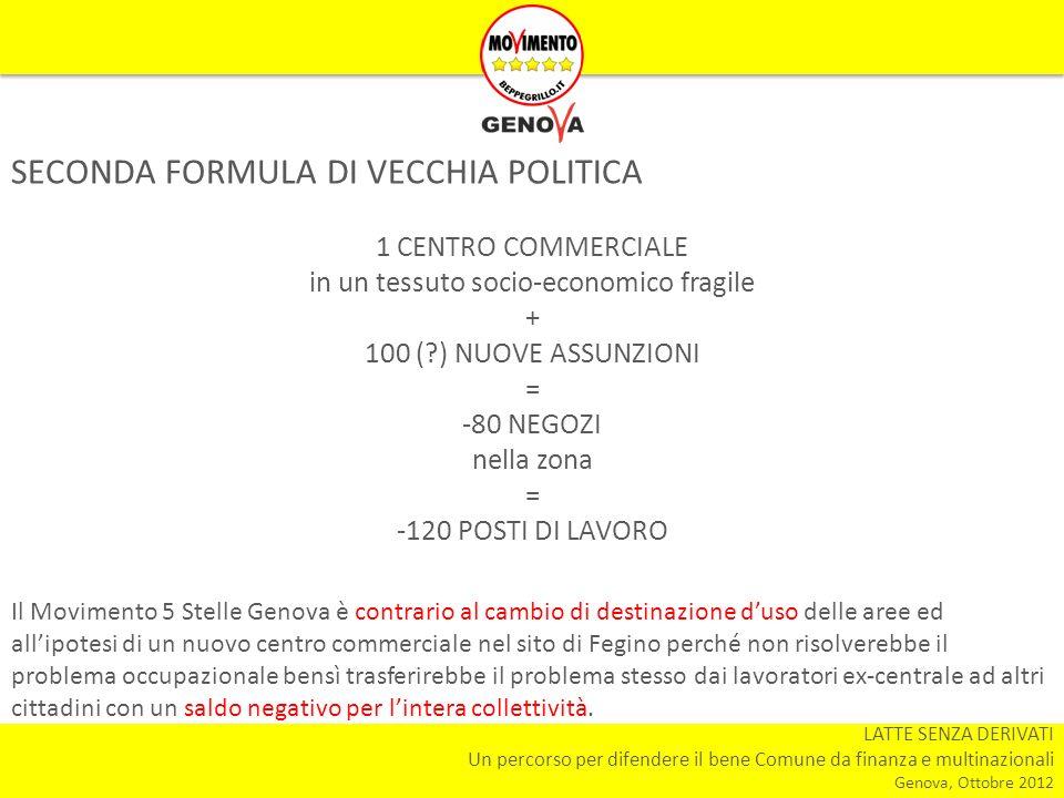 LATTE SENZA DERIVATI Un percorso per difendere il bene Comune da finanza e multinazionali Genova, Ottobre 2012 SECONDA FORMULA DI VECCHIA POLITICA 1 C