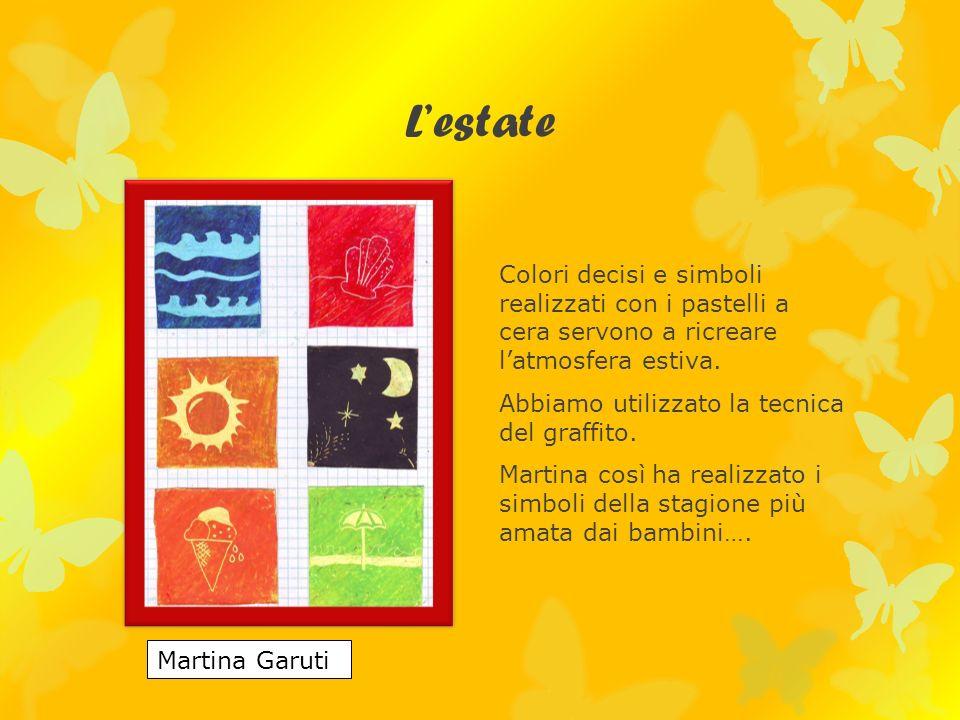 Lestate Colori decisi e simboli realizzati con i pastelli a cera servono a ricreare latmosfera estiva.
