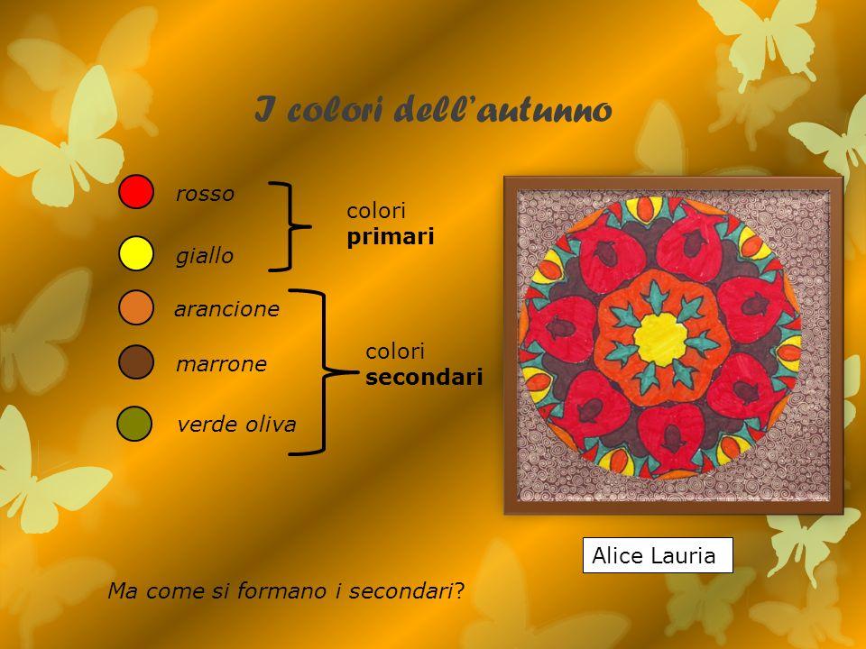 I colori dellautunno rosso giallo arancione marrone verde oliva Alice Lauria colori primari colori secondari Ma come si formano i secondari?