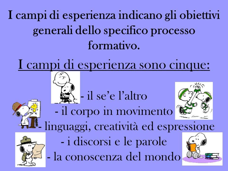 I campi di esperienza indicano gli obiettivi generali dello specifico processo formativo. I campi di esperienza sono cinque: - il see laltro - il corp