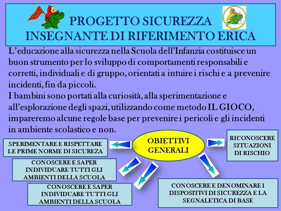 PROGETTO SICUREZZA INSEGNANTE DI RIFERIMENTO ERICA Leducazione alla sicurezza nella Scuola dellInfanzia costituisce un buon strumento per lo sviluppo