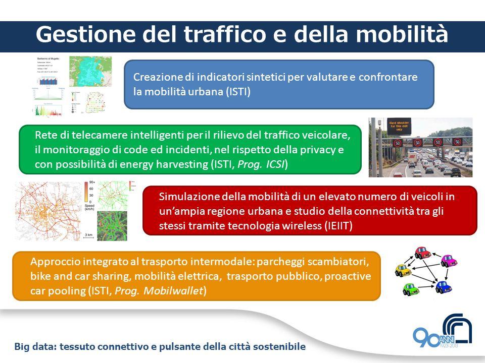 Big data: tessuto connettivo e pulsante della città sostenibile Gestione del traffico e della mobilità Creazione di indicatori sintetici per valutare