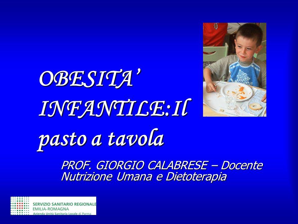 PROF. GIORGIO CALABRESE – Docente Nutrizione Umana e Dietoterapia OBESITA INFANTILE:Il pasto a tavola