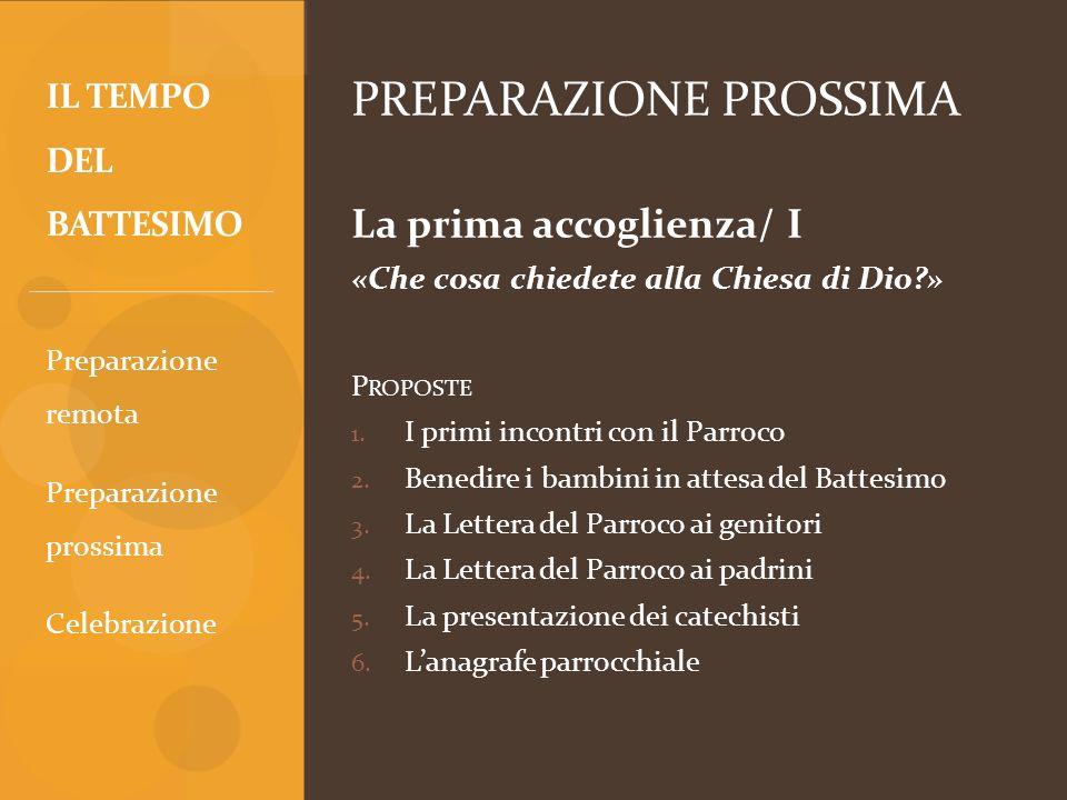 PREPARAZIONE PROSSIMA La prima accoglienza/ I «Che cosa chiedete alla Chiesa di Dio?» P ROPOSTE 1. I primi incontri con il Parroco 2. Benedire i bambi