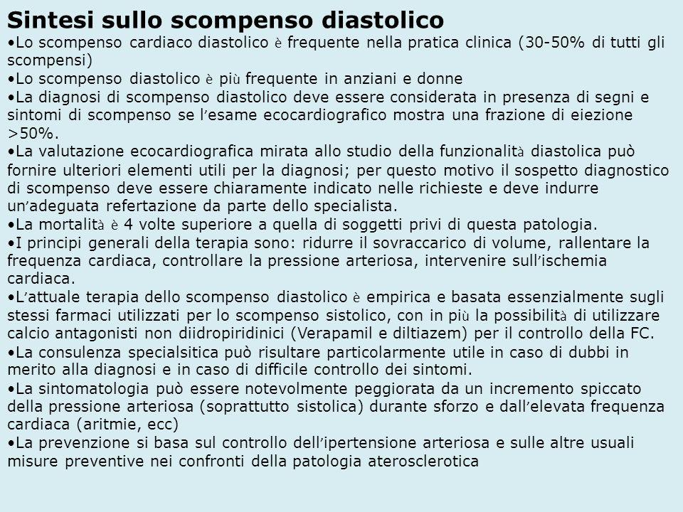 Sintesi sullo scompenso diastolico Lo scompenso cardiaco diastolico è frequente nella pratica clinica (30-50% di tutti gli scompensi) Lo scompenso dia