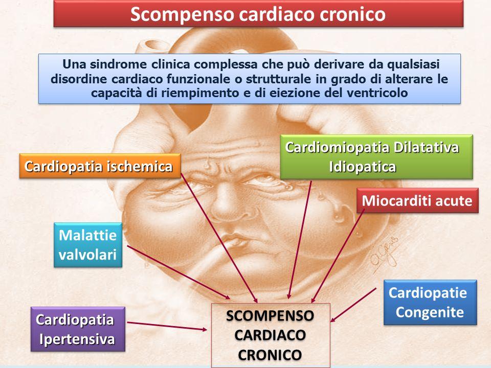 ESC 2005 1.vi sono sintomi di scompenso a riposo o durante sforzo e 2.vi sono segni obiettivi di disfunzione cardiaca a riposo e (solo in caso permangano dubbi) 3.vi è una risposta alla terapia per lo scompenso 1.vi sono sintomi di scompenso a riposo o durante sforzo e 2.vi sono segni obiettivi di disfunzione cardiaca a riposo e (solo in caso permangano dubbi) 3.vi è una risposta alla terapia per lo scompenso Sintomi di scompenso cardiaco Dispnea parossistica notturna Ortopnea Dispnea durante sforzo Edema arti inferiori Ridotta tolleranza allo sforzo Astenia e/o confusione inspiegata nell anziano Nausea, dolore addominale (da congestione epatica) Sintomi di scompenso cardiaco Dispnea parossistica notturna Ortopnea Dispnea durante sforzo Edema arti inferiori Ridotta tolleranza allo sforzo Astenia e/o confusione inspiegata nell anziano Nausea, dolore addominale (da congestione epatica)