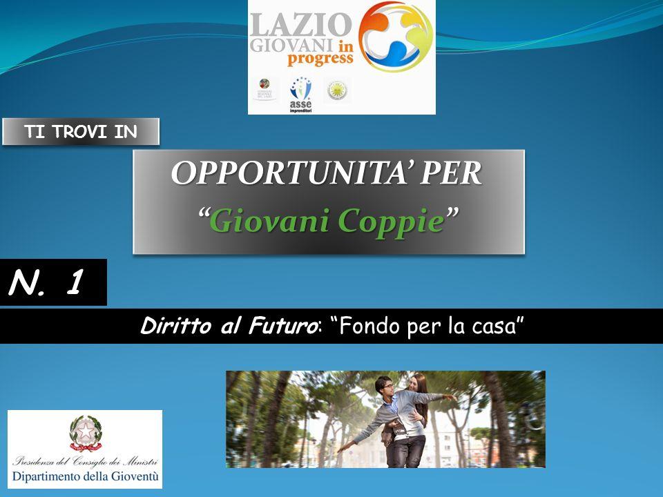 OPPORTUNITA PER Giovani CoppieGiovani Coppie OPPORTUNITA PER Giovani CoppieGiovani Coppie Diritto al Futuro: Fondo per la casa N.