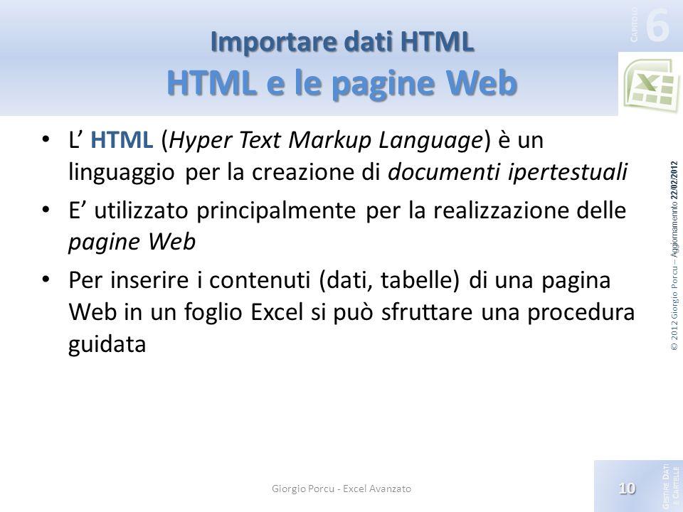 G ESTIRE D ATI E C ARTELLE 6 C APITOLO © 2012 Giorgio Porcu – Aggiornamennto 22/02/2012 L HTML (Hyper Text Markup Language) è un linguaggio per la creazione di documenti ipertestuali E utilizzato principalmente per la realizzazione delle pagine Web Per inserire i contenuti (dati, tabelle) di una pagina Web in un foglio Excel si può sfruttare una procedura guidata 10 Giorgio Porcu - Excel Avanzato Importare dati HTML HTML e le pagine Web