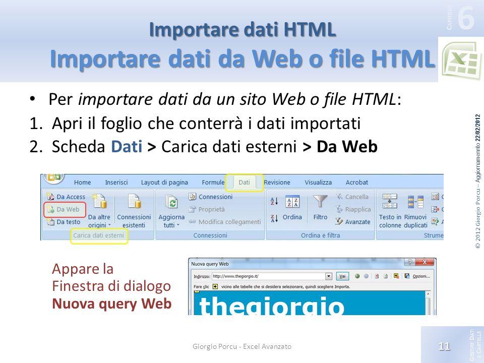 G ESTIRE D ATI E C ARTELLE 6 C APITOLO © 2012 Giorgio Porcu – Aggiornamennto 22/02/2012 Importare dati HTML Importare dati da Web o file HTML Per importare dati da un sito Web o file HTML: 1.Apri il foglio che conterrà i dati importati 2.Scheda Dati > Carica dati esterni > Da Web Appare la Finestra di dialogo Nuova query Web 11 Giorgio Porcu - Excel Avanzato