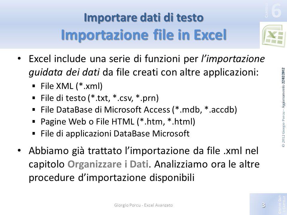 G ESTIRE D ATI E C ARTELLE 6 C APITOLO © 2012 Giorgio Porcu – Aggiornamennto 22/02/2012 3 Giorgio Porcu - Excel Avanzato Importare dati di testo Importazione file in Excel Excel include una serie di funzioni per limportazione guidata dei dati da file creati con altre applicazioni: File XML (*.xml) File di testo (*.txt, *.csv, *.prn) File DataBase di Microsoft Access (*.mdb, *.accdb) Pagine Web o File HTML (*.htm, *.html) File di applicazioni DataBase Microsoft Abbiamo già trattato limportazione da file.xml nel capitolo Organizzare i Dati.