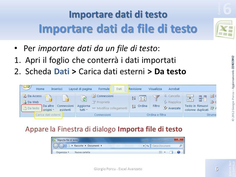 G ESTIRE D ATI E C ARTELLE 6 C APITOLO © 2012 Giorgio Porcu – Aggiornamennto 22/02/2012 Importare dati di testo Importare dati da file di testo Per importare dati da un file di testo: 1.Apri il foglio che conterrà i dati importati 2.Scheda Dati > Carica dati esterni > Da testo Appare la Finestra di dialogo Importa file di testo 6 Giorgio Porcu - Excel Avanzato