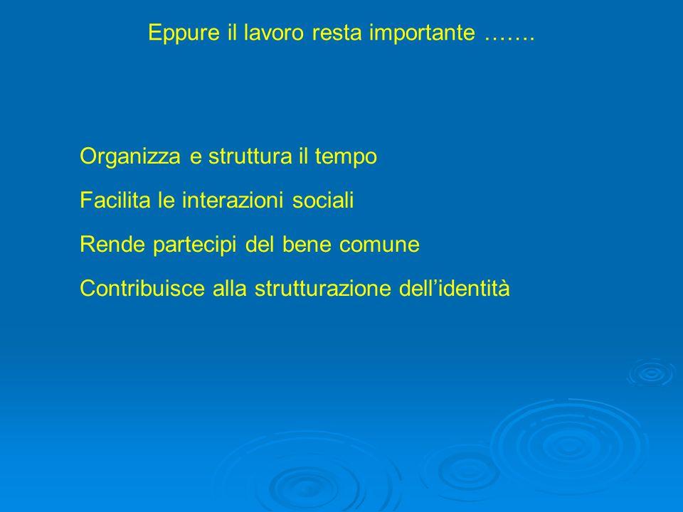 Eppure il lavoro resta importante ……. Organizza e struttura il tempo Facilita le interazioni sociali Rende partecipi del bene comune Contribuisce alla