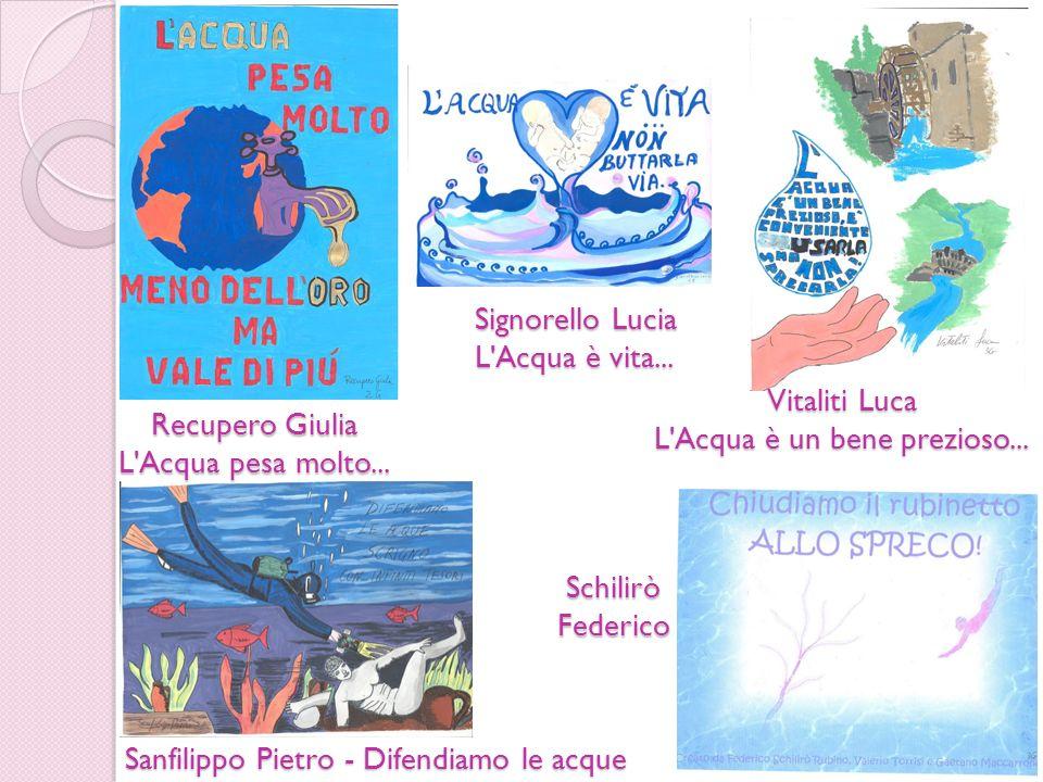 Recupero Giulia L'Acqua pesa molto... Sanfilippo Pietro - Difendiamo le acque SchiliròFederico Signorello Lucia L'Acqua è vita... Vitaliti Luca L'Acqu