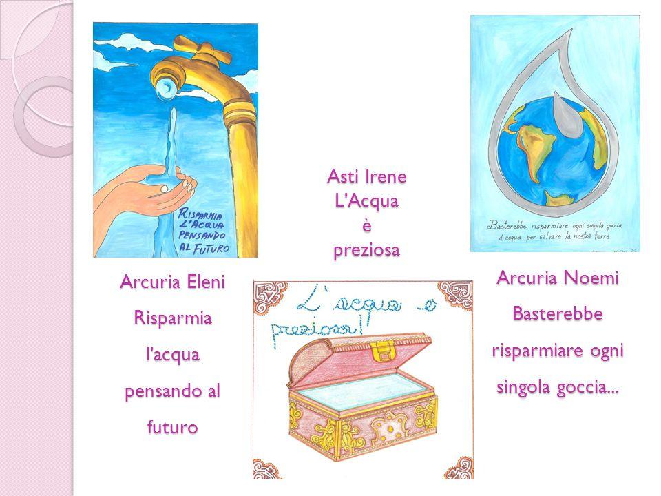 Arcuria Eleni Risparmia l'acqua pensando al futuro Arcuria Noemi Basterebbe risparmiare ogni singola goccia... Asti Irene L'Acquaèpreziosa