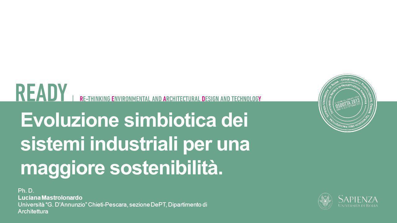 Ph. D. Luciana Mastrolonardo Università G. DAnnunzio Chieti-Pescara, sezione DePT, Dipartimento di Architettura Evoluzione simbiotica dei sistemi indu