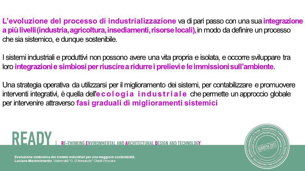 Luciana Mastrolonardo, Università G. DAnnunzio Chieti-Pescara Levoluzione del processo di industrializzazione va di pari passo con una sua integrazion