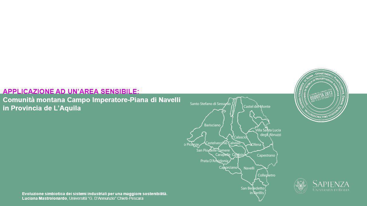 Evoluzione simbiotica dei sistemi industriali per una maggiore sostenibilità. Luciana Mastrolonardo, Università G. DAnnunzio Chieti-Pescara APPLICAZIO