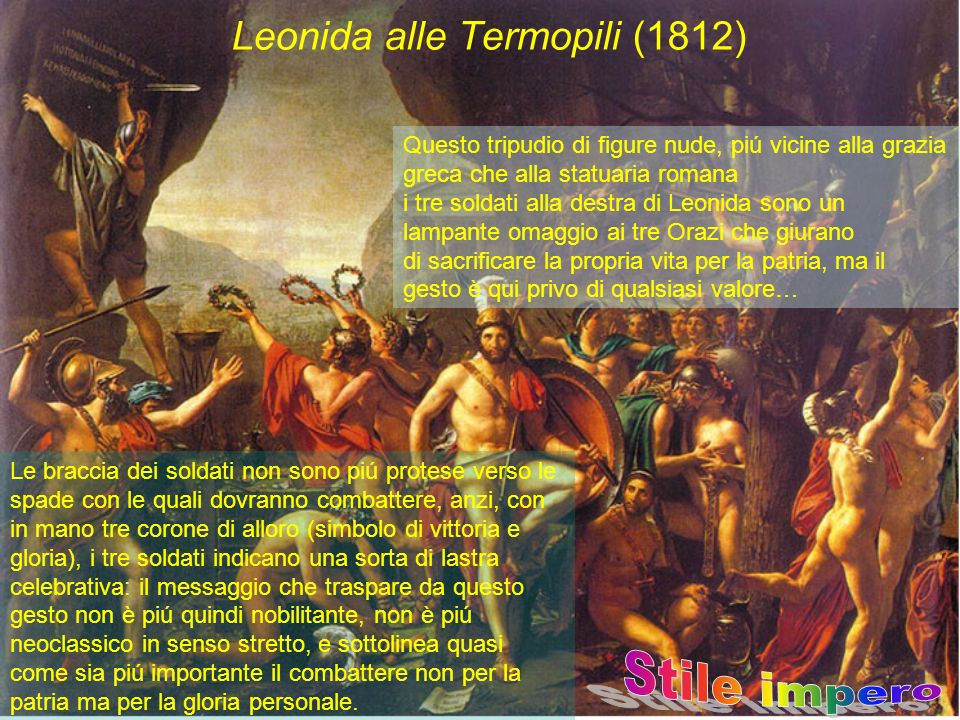 Leonida alle Termopili (1812) Questo tripudio di figure nude, piú vicine alla grazia greca che alla statuaria romana i tre soldati alla destra di Leon