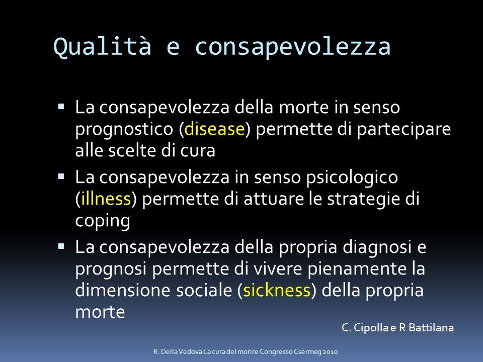 Qualità e consapevolezza La consapevolezza della morte in senso prognostico (disease) permette di partecipare alle scelte di cura La consapevolezza in