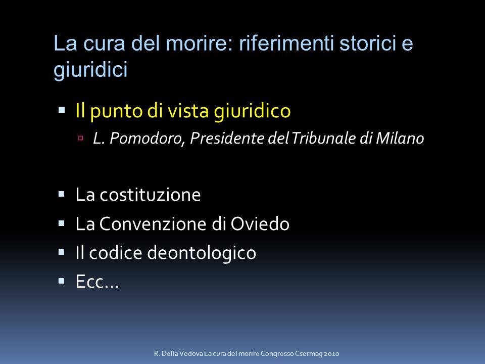La cura del morire: riferimenti storici e giuridici Il punto di vista giuridico L. Pomodoro, Presidente del Tribunale di Milano La costituzione La Con