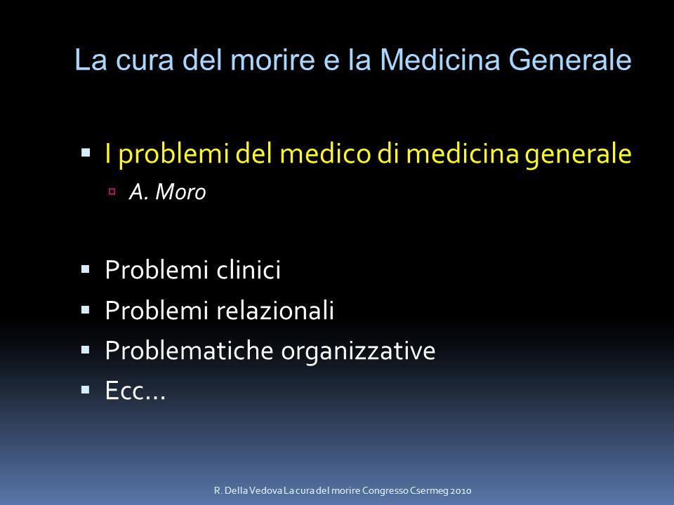 La cura del morire e la Medicina Generale I problemi del medico di medicina generale A. Moro Problemi clinici Problemi relazionali Problematiche organ