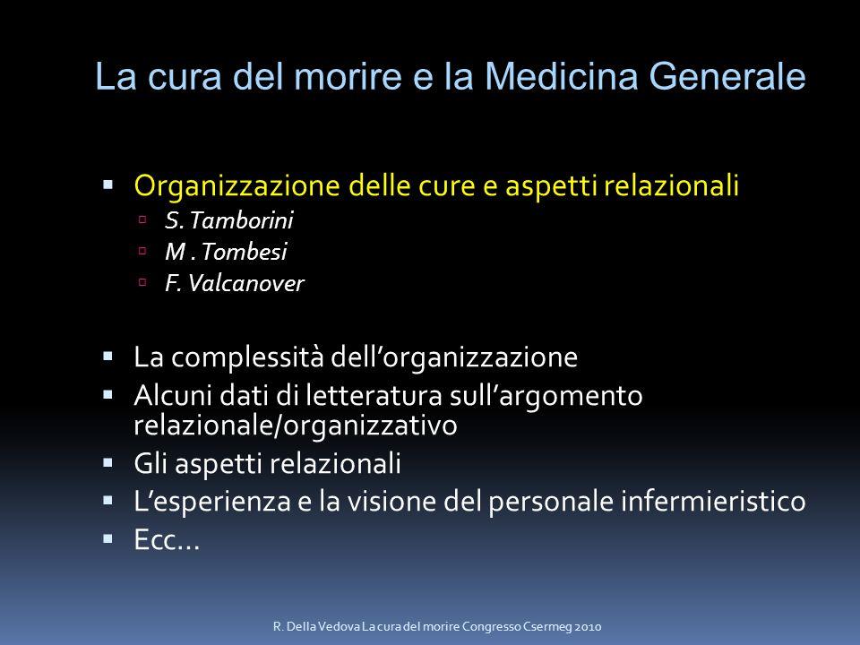 La cura del morire e la Medicina Generale Organizzazione delle cure e aspetti relazionali S. Tamborini M. Tombesi F. Valcanover La complessità dellorg