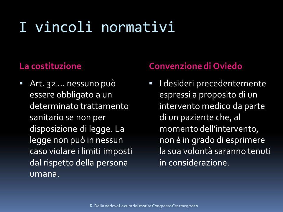 I vincoli normativi La costituzioneConvenzione di Oviedo Art. 32 … nessuno può essere obbligato a un determinato trattamento sanitario se non per disp