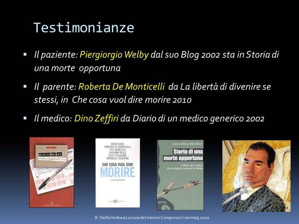Testimonianze Il paziente: Piergiorgio Welby dal suo Blog 2002 sta in Storia di una morte opportuna Il parente: Roberta De Monticelli da La libertà di