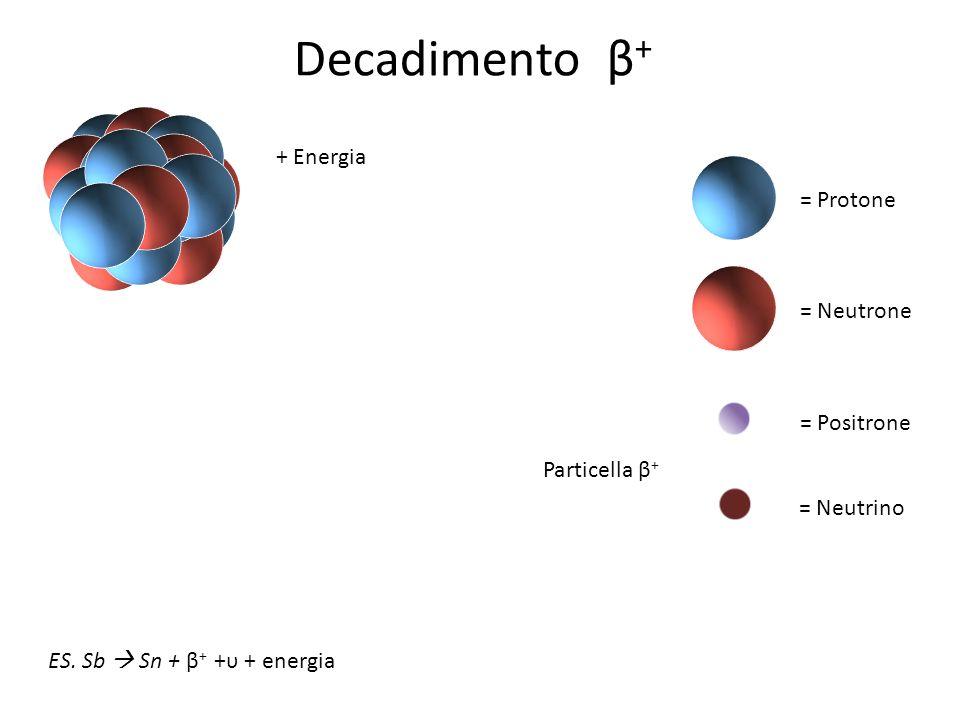 = Protone = Neutrone = Positrone = Neutrino ES. Sb Sn + β + +υ + energia + Energia Particella β + Decadimento β +