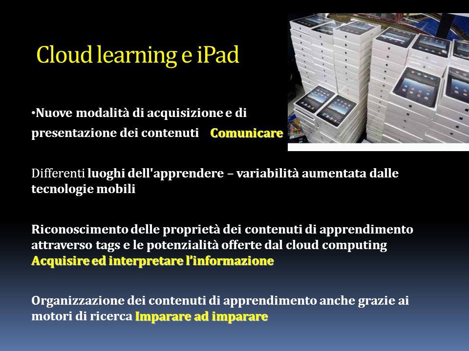 Nuove modalità di acquisizione e di Comunicare presentazione dei contenuti Comunicare Differenti luoghi dell apprendere – variabilità aumentata dalle tecnologie mobili Acquisire ed interpretare linformazione Riconoscimento delle proprietà dei contenuti di apprendimento attraverso tags e le potenzialità offerte dal cloud computing Acquisire ed interpretare linformazione Imparare ad imparare Organizzazione dei contenuti di apprendimento anche grazie ai motori di ricerca Imparare ad imparare Cloud learning e iPad