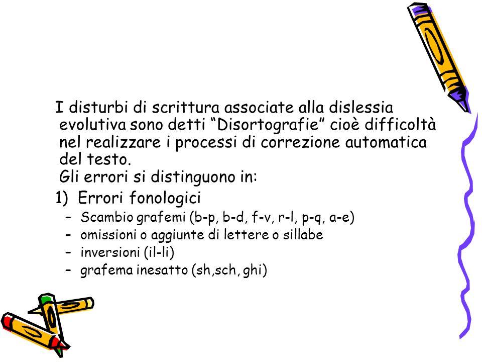 I disturbi di scrittura associate alla dislessia evolutiva sono detti Disortografie cioè difficoltà nel realizzare i processi di correzione automatica del testo.