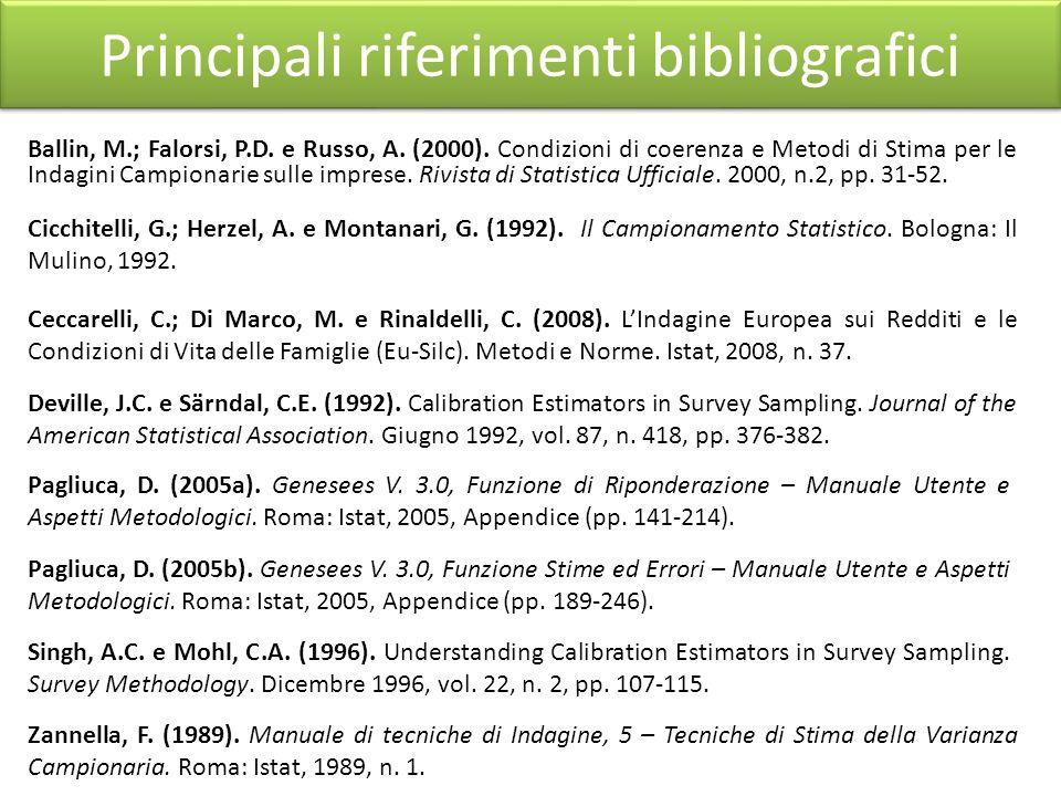 . Principali riferimenti bibliografici Ballin, M.; Falorsi, P.D. e Russo, A. (2000). Condizioni di coerenza e Metodi di Stima per le Indagini Campiona