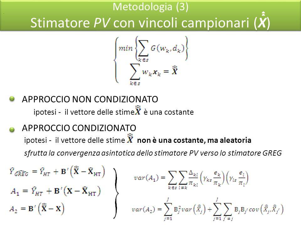 Metodologia (3) Stimatore PV con vincoli campionari (X) APPROCCIO NON CONDIZIONATO APPROCCIO CONDIZIONATO ipotesi - il vettore delle stime è una costante.