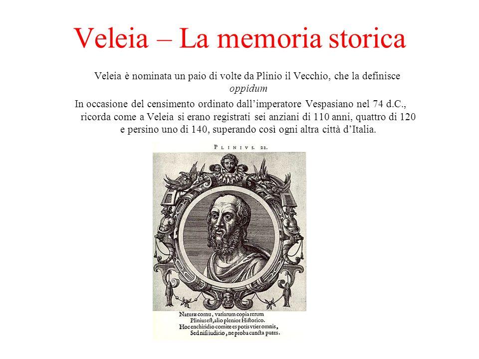 Veleia – La memoria storica Veleia è nominata un paio di volte da Plinio il Vecchio, che la definisce oppidum In occasione del censimento ordinato dallimperatore Vespasiano nel 74 d.C., ricorda come a Veleia si erano registrati sei anziani di 110 anni, quattro di 120 e persino uno di 140, superando così ogni altra città dItalia.